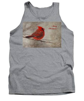 Red Bird In Snow Christmas Card Tank Top