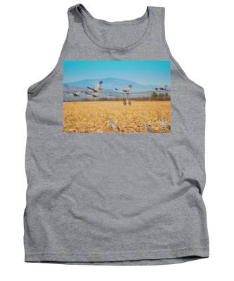 Sandhill Cranes In Flight Tank Top