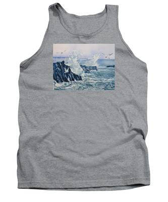 Sea, Splashes And Gulls Tank Top
