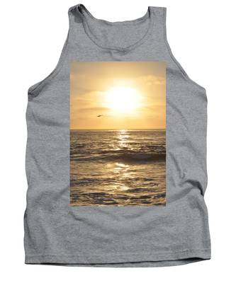 Sunset Pelican Silhouette Tank Top