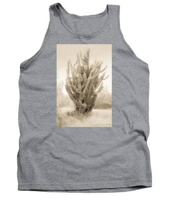 Tall Cactus In Sepia Tank Top