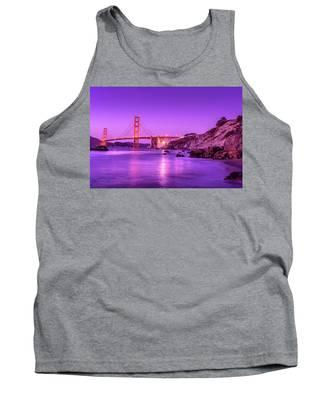Golden Gate Bridge At Night Tank Top