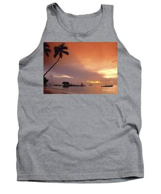 Tank Top featuring the photograph Tobago, Pigeon Point Sunset, Caribbean Sea, by Juergen Held