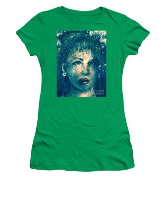 Portrait In Blue Women's T-Shirt by Laurie Lundquist