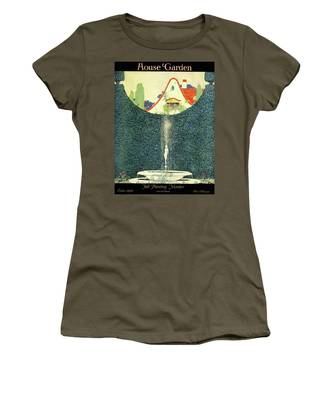 A Fountain With A Hedge In The Background Women's T-Shirt