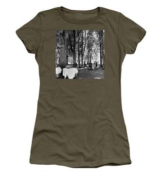 A Group Of People Eating Lunch Under Trees Women's T-Shirt