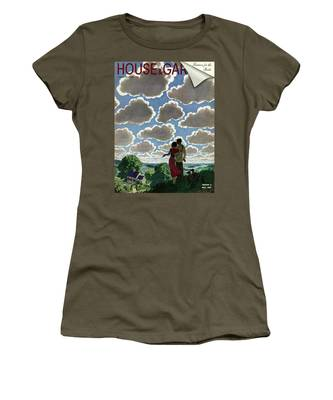 A Young Couple And Their Dogs On A Hilltop Women's T-Shirt