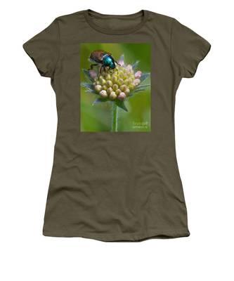 Beetle Sitting On Flower Women's T-Shirt