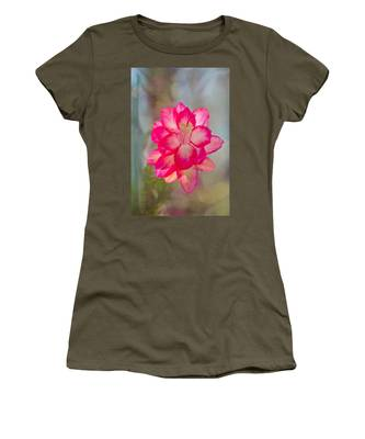 Women's T-Shirt featuring the photograph Christmas Cactus Bokeh by Jemmy Archer