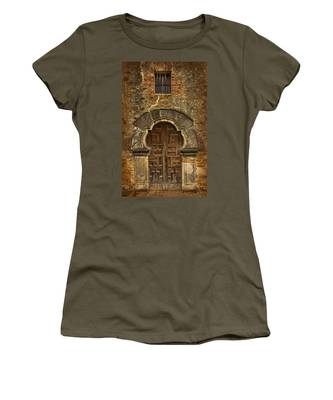 Women's T-Shirt featuring the photograph Mission Espada Doorway by Jemmy Archer
