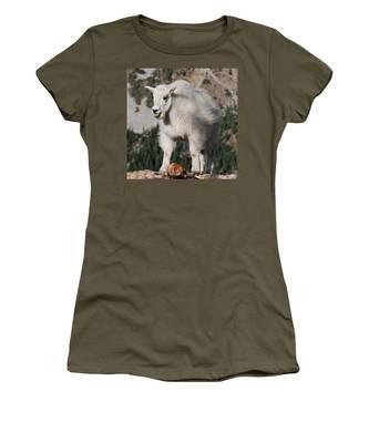 Mountain Goat Kid Standing On A Boulder Women's T-Shirt