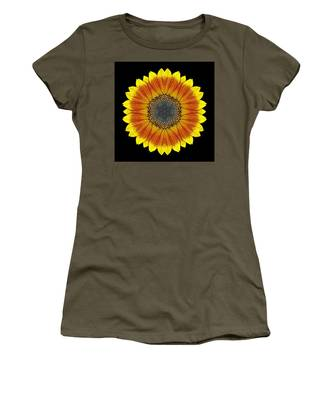 Orange And Yellow Sunflower Flower Mandala Women's T-Shirt