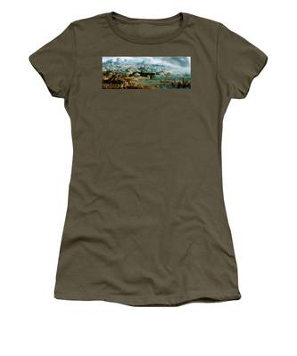 Panorama With The Abduction Of Helen Amidst The Wonders Of The Ancient World Women's T-Shirt