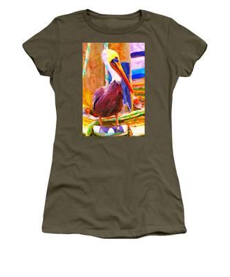 Pelican On The Dock Women's T-Shirt