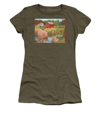 Pigs And Lilies Women's T-Shirt