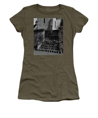 Rows Of Pot Plants Lined On The Steps Of A Garden Women's T-Shirt
