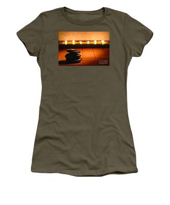Stone Cairn And Candles For Quiet Meditation Women's T-Shirt