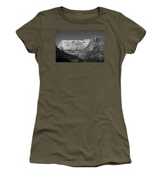 Women's T-Shirt featuring the photograph Zion Cliff And Arch B W by Jemmy Archer