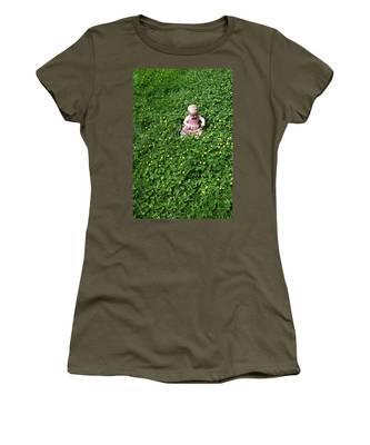 Baby In A Field Of Flowers Women's T-Shirt