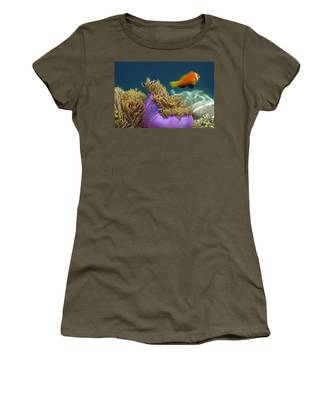 Women's T-Shirt featuring the photograph Maledives Clown Fish by Juergen Held