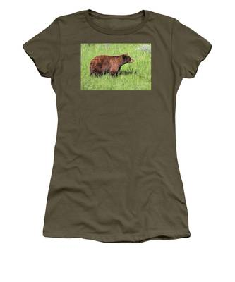 Women's T-Shirt featuring the photograph Bear Eating Daisies by Jemmy Archer