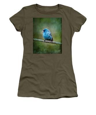 Bird In Blue Indigo Bunting Ginkelmier Inspired Women's T-Shirt