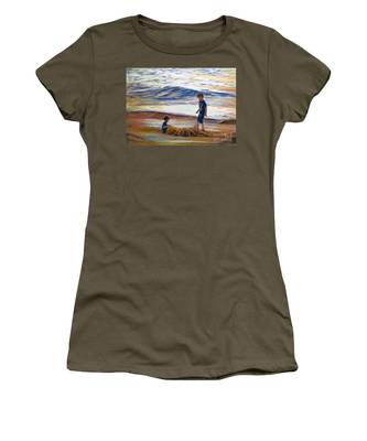 Boys Playing At The Beach Women's T-Shirt