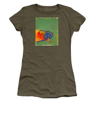 Women's T-Shirt featuring the painting Fish Pondering The Anomaly Of Mans Anamnesis by Cliff Spohn