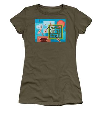 Women's T-Shirt featuring the painting Labyrinth Day by Break The Silhouette