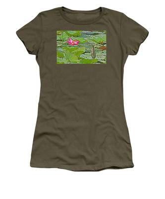 Lotus Blossom And Heron Women's T-Shirt