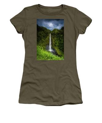 Women's T-Shirt featuring the photograph Mystic Waterfall by Break The Silhouette