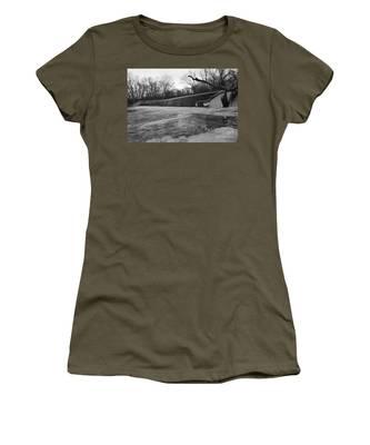 Falling Water On The Pompton Spillway In Winter Women's T-Shirt