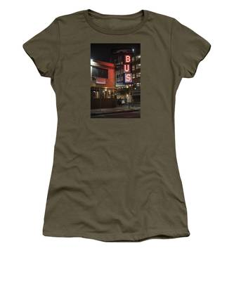Women's T-Shirt featuring the photograph The Bus Stop by Break The Silhouette