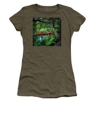 The Red Canoe On The Lake Women's T-Shirt