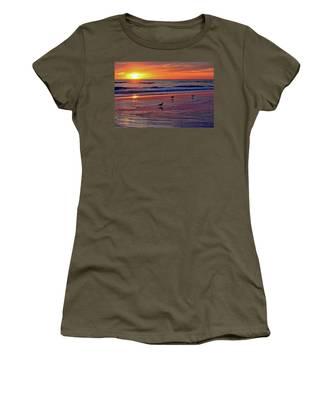 Three Seagulls On A Sunset Beach Women's T-Shirt