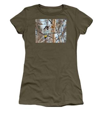 Yellow-shafted Northern Flicker Staying Warm Women's T-Shirt