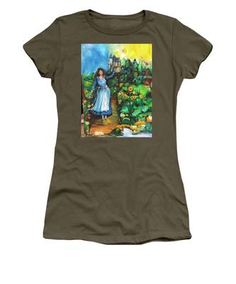 Women's T-Shirt featuring the photograph Annabelle And Sunflowers by Laurie Lundquist