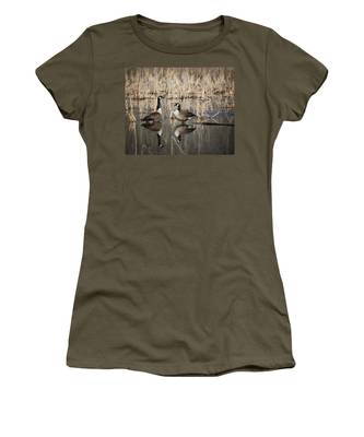 Canada Geese On The Marsh Women's T-Shirt by Jemmy Archer