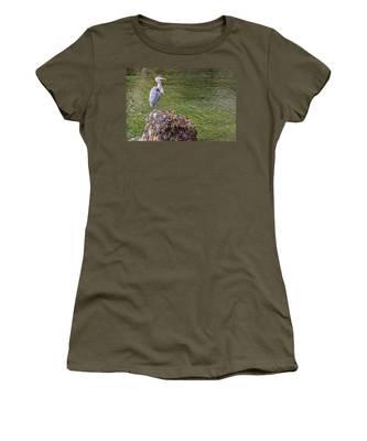 Heron On The Rock Women's T-Shirt