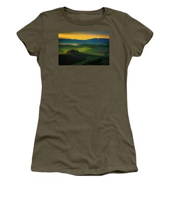 San Quirico D' Orcia At Sunrise Women's T-Shirt by Chris Lord