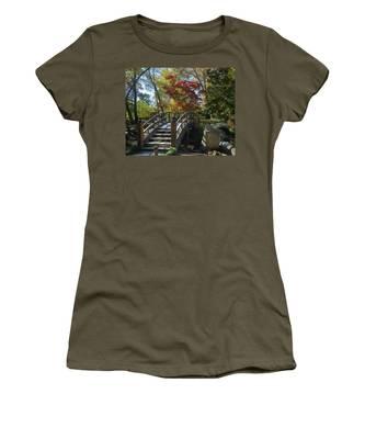 Wooden Bridge In Japanese Garden Women's T-Shirt by Jemmy Archer