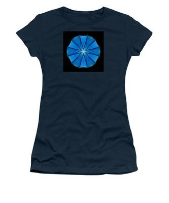 Blue Morning Glory Flower Mandala Women's T-Shirt