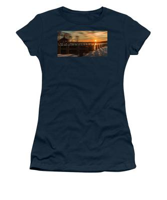 Northport New York Winter Sunset Women's T-Shirt