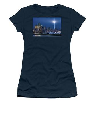 Women's T-Shirt featuring the photograph Ground Zero Tribute Lights And The Freedom Tower by Chris Lord