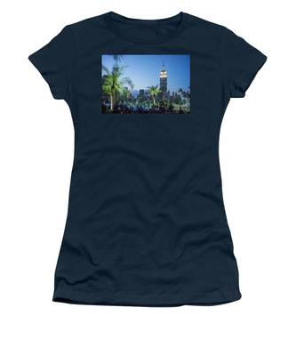 Women's T-Shirt featuring the photograph New York 230 Fith Rooftop Bar  by Juergen Held