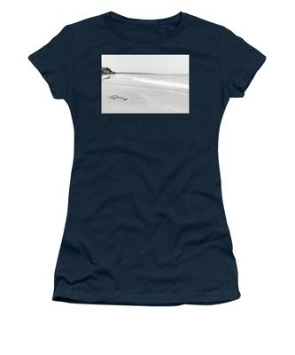 Sand Meets The Sea In Black And White Women's T-Shirt
