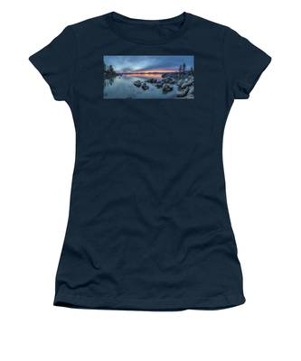 Colorful Sunset At Sand Harbor Panorama Women's T-Shirt