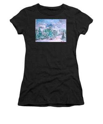 Women's T-Shirt featuring the painting A Natural Christmas by Laurie Lundquist