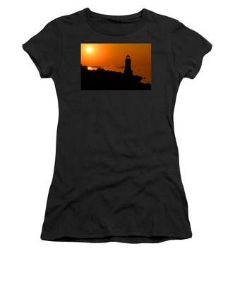 Women's T-Shirt featuring the photograph Winter Island Lighthouse Sunrise by Jemmy Archer