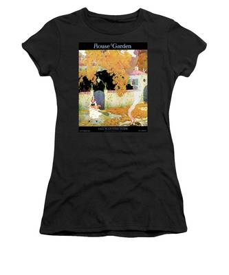 A Girl Sweeping Leaves Women's T-Shirt